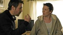 Director Paddy Considine with Olivia Colman on the set of Tyrannosaur.