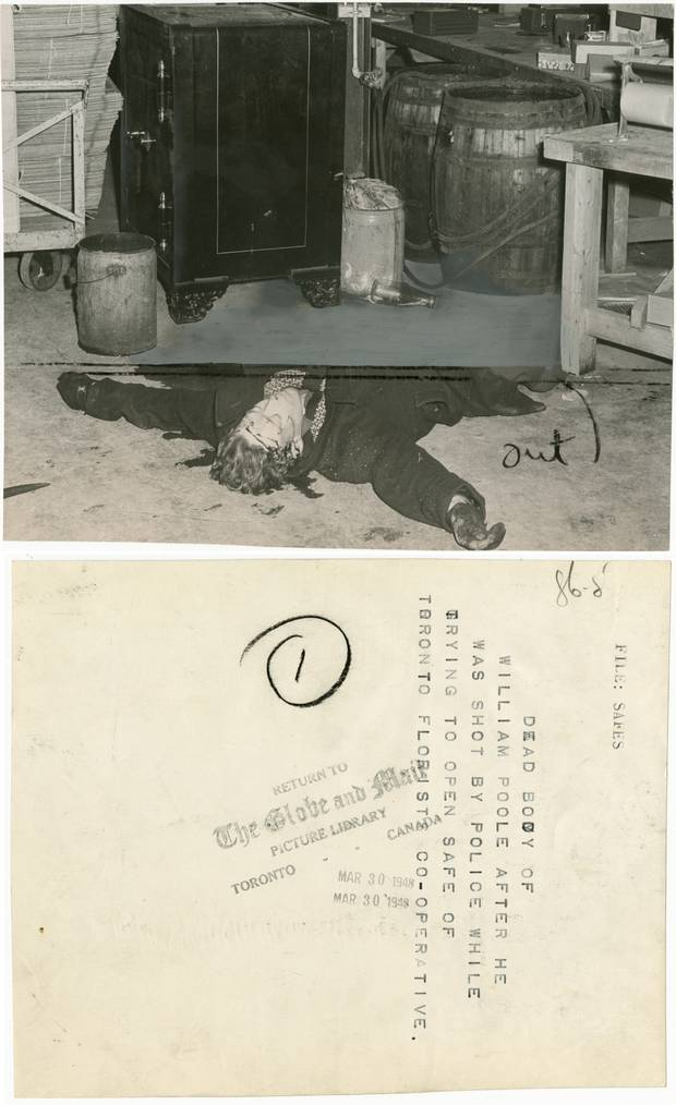 The body of a thief rests on the floor after he was shot dead by police in 1948.