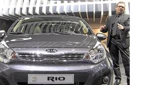 Kia chief design officer Peter Schreyer with the new fourth-generation Kia Rio.
