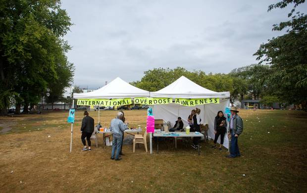 A view of a overdose awareness program in Vancouver's Downtown Eastside.