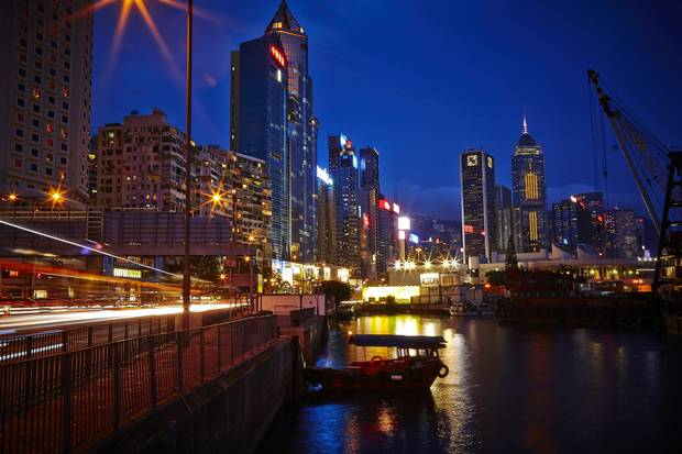 Hong Kong harbour, looking at Causeway Bay.