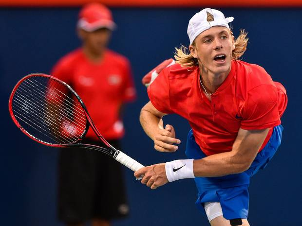 Shapovalov serves against Adrian Mannarino of France during the Rogers Cup on Aug. 11, 2017 in Montreal.