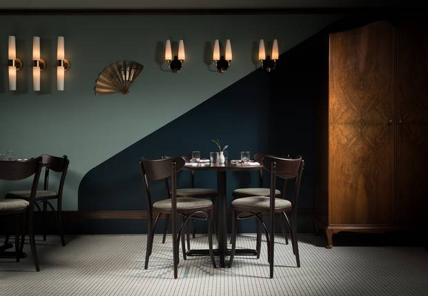 Kissa Tanto, a 1960s panese jazz-café-inspired room in Vancouver, uses only one chadelier.