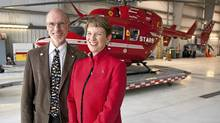 Greg and Linda Powell are key players behind STARS (Shock Trauma Air Rescue Society), a non-profit that provides helicopter rescue in Alberta. (Jeff McIntosh/Jeff McIntosh For The Globe and Mail)