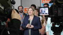 NDP Leader Andrea Horwath speaks during an election rally in Kitchener, Ont, on May 16. (Colin Perkel/THE CANADIAN PRESS)