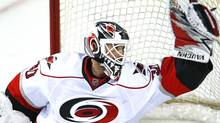 Carolina Hurricanes goaltender Cam Ward is considered a dark horse candidate in Friday's NHL All-Star draft. REUTERS/Shaun Best (SHAUN BEST)