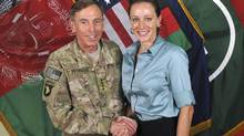 Gen. David Petraeus, then the NATO International Security Assistance Force commander, with Paula Broadwell, his biographer, in Afghanistan on July 13, 2011 in a handout photo. Lawmakers expressed concern Sunday over the lack of oversight into the inquiry that exposed an affair between Petraeus and Broadwell. (International Security Assistance Force NATO via The New York Times) -- EDITORIAL USE ONLY -- (International Security Assistance/NYT)