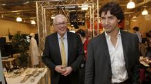 Ryerson University President Sheldon Levy, left, and Liberal Party of Canada's leadership candidate Justin Trudeau, while visiting Ryerson University Digital Media Zone, an incubator for new technology companies. Toronto March 27 2013.