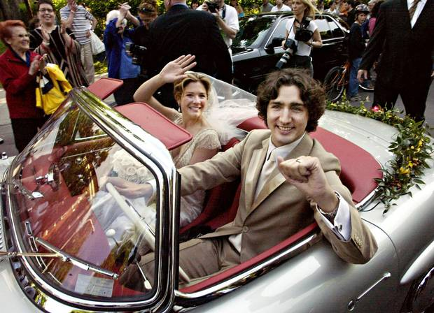 Justin Trudeau leaves with his new bride, Sophie Grégoire, in his father's 1959 Mercedes 300 SEL after their marriage ceremony in Montreal on May 28, 2005.