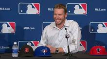 Pitcher Roy Halladay announces his retirement as a member of the Toronto Blue Jays (screen capture)
