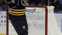 Buffalo Sabres' left winger Thomas Vanek, of Austria, celebrates his goal against the Florida Panthers during the first period of an NHL game in Buffalo, N.Y., Sunday, Feb. 3, 2013. (Gary Wiepert/AP)