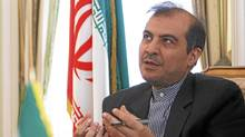 Iran's ambassador to the European Union Aliasghar Khaji addresses a news conference in Brussels May 14, 2008. Khaji presented a package of proposals on international security to the European Union. (Francois Lenoir/REUTERS)