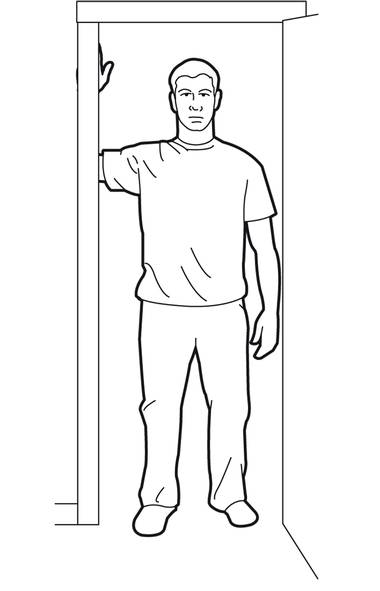 Standing beside the door, place one forearm on the frame at roughly chest height. Your arm should be bent at a 90-degree angle. (Trish McAlaster)