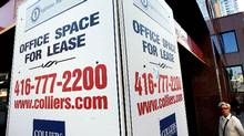 A commercial real estate sign from the midtown area in Toronto, Ontario. (Deborah Baic/Deborah Baic/THE GLOBE AND MAIL)