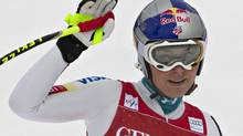 Lindsey Vonn of the U.S. reacts after finishing first during the Women's World Cup Downhill skiing in Lake Louise, Alberta November 30, 2012. (Andy Clark/REUTERS)