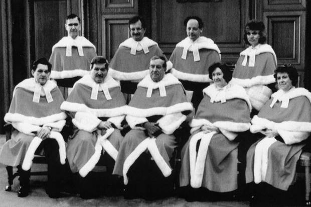 The justices of the Supreme Court, shown before Beverley McLachlin's swearing-in on April 17, 1989. Top row from left: Peter Cory, John Sopinka, Charles Gonthier and justice McLachlin. Bottom row: Gerald La Forest, Antonio Lamer, chief justice George Brian Dickson, Bertha Wilson and Claire l'Heureux-Dube.