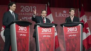 Justin Trudeau, left to right, Martin Cauchon and Martha Hall Findlay take part in the Liberal party leadership debate in Montreal on Saturday, March 23, 2013.