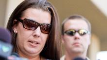 Tara McDonald, mother of slain Victoria Stafford, reads her victim impact statement to the media following the sentencing hearing for Michael Rafferty in London, Ontario, Tuesday, May 15, 2012. (Geoff Robins/THE CANADIAN PRESS/Geoff Robins/THE CANADIAN PRESS)