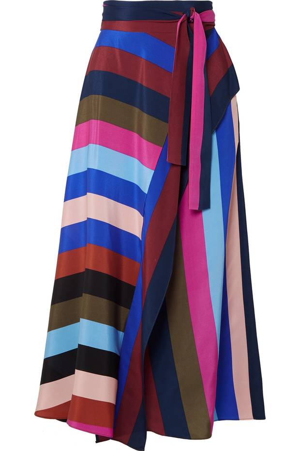 Diane von Furstenberg silk crepe de chine wrap midi skirt, US$370 through net-a-porter.com.