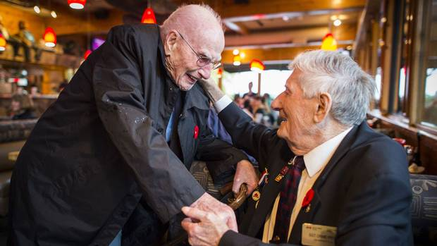 When Gordie Bannerman (left), who now lives on Vancouver Island, and Orme Payne, who lives in Port Moody, B.C., meet for lunch in Horseshoe Bay in West Vancouver November 7, 2015, the pair share stories and memories of the war and rekindle their 82-year friendship.