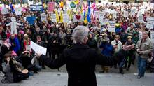 B.C. Teachers' Federation president Susan Lambert addresses teachers and other supporters during a rally on the final day of a three-day provincewide walkout in Vancouver on Wednesday, March 7, 2012. (Darryl Dyck/The Canadian Press/Darryl Dyck/The Canadian Press)