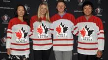 Rebecca Lee-Bentham, Jennifer Kirby, Mackenzie Hughes and Albin Choi (Golf Canada)