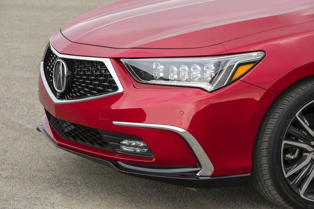 The new grille brings the RLX in line with the brand's design direction.