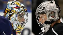 Ryan Miller, left, of the Buffalo Sabres and Jonathan Quick of the Los Angeles Kings
