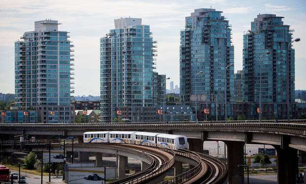 A Skytrain is pictured in transit in downtown Vancouver, British Columbia on June 5, 2016.