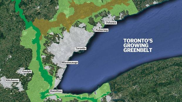 Ontario's provincial government enacted plans to protect the Oak Ridges moraine (2001, brown). The Niagara escarpmenet (2005,dark green) and the greenbelt (2005, light green). All three plans were then folded into the growth plan for the greater golden horseshoe (2006).
