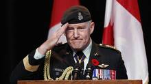 Outgoing Chief of Defence Staff Walt Natynczyk salutes while speaking during a Canadian Forces change of command ceremony at the Canadian War Museum in Ottawa October 29, 2012. (CHRIS WATTIE/REUTERS)