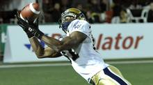Winnipeg Blue Bombers slotback Cory Watson drops a goal line pass against the Hamilton Tiger-Cats during the first half of their CFL football game in Hamilton October 7, 2011. (MIKE CASSESE/Reuters)