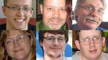 The victims of the Ottawa bus crash, clockwise from top right: Connor Boyd, Dave Woodard, Michael Bleakney, Rob More, Kyle Nash and Karen Kryzewski. (FAMILY HANDOUTS, FACEBOOK, PICASA)