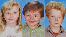 Kaitlynne Schoenborn, 10; Max Schoenborn, 8; and Cordon Schoenborn, 5, are shown in a composite image taken from framed picture at the memorial wall in Merritt, B.C on Thursday April 10, 2008.