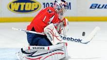 Semyon Varlamov #1 of the Washington Capitals makes a save against the Los Angeles Kings at the Verizon Center on February 12,