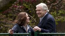 Conrad Black and his wife Barbara Amiel on the grounds of their Toronto home May 4, 2012. Black was released from a Florida jail earlier in the day and returned to Canada. (Moe Doiron/Moe Doiron/The Globe and Mail)
