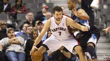 The Toronto Raptors' Andrea Bargnani drives to the basket against Minnesota Timberwolves' Anthony Randolph in the first half on Jan. 9, 2012. (Fred Thornhill/Reuters/Fred Thornhill/Reuters)
