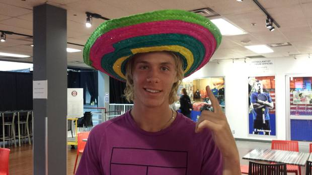 Shapovalov poses at Tennis Canada headquarters in Montreal.