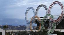 The Olympic rings are seen in front of the airport of Sochi, the host city for the Sochi 2014 Winter Olympics, February 18, 2013. (KAI PFAFFENBACH/REUTERS)