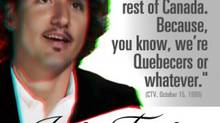 The new Liberal Leader is presented as shallow and ridiculed for his theatrics during a mock striptease, which is front and centre in English and French-language ads featuring lots of slow motion shots. There is also heavy emphasis on the mustache and long hair that Mr. Trudeau once adorned, making him look like one of the Three Musketeers
