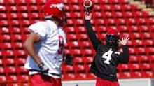 Calgary Stampeders quarterback Drew Tate at team practice in Calgary, Alberta, June 12, 2013. (Todd Korol/THE GLOBE AND MAIL)