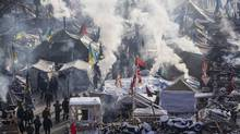 A view of anti-government protesters camping at the Independence Square in central Kiev January 24, 2014. (GLEB GARANICH/REUTERS)