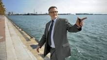 Portland Mayor Sam Adams tours Sugar Beach at Toronto's waterfront on Sept. 21. (Fred Lum/The Globe and Mail)