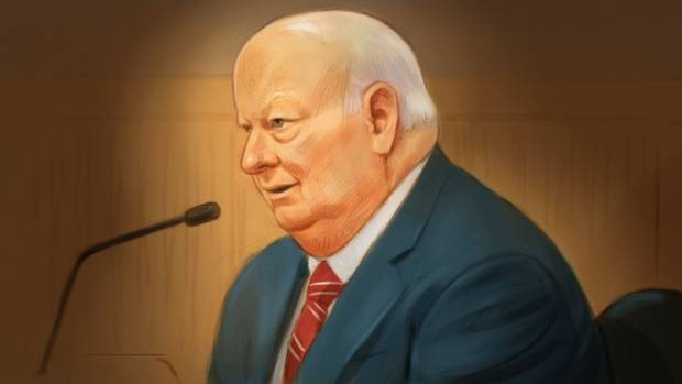 In this artist's sketch, Mike Duffy, a former member of the Conservative caucus, testifies at his trial in Ottawa on Dec. 8.