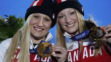 Gold medallists Canada's Kaillie Humphries and Heather Moyse (ERIC GAILLARD/REUTERS)