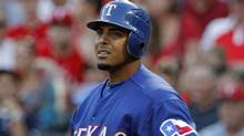 In this April 27, 2012 file photo, Texas Rangers' Nelson Cruz reacts during an at-bat during a baseball game against the Tampa Bay Rays in Arlington, Tex. (Associated Press)