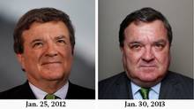 Left: Jim Flaherty, Canada's finance minister, pauses while speaking during a television interview on day one of the World Economic Forum (WEF) in Davos, Switzerland, on Wednesday, Jan. 25, 2012; Right: Finance Minister Jim Flaherty poses for portrait in his Parliament Hill office Jan. 30, 2013. (Left: Simon Dawson/Bloomberg; Right: Dave Chan for The Globe and Mail)