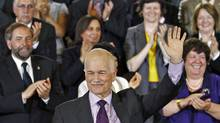 NDP Leader Jack Layton waves after delivering a speech to his caucus in Ottawa on May 24, 2011. (CHRIS WATTIE/REUTERS)