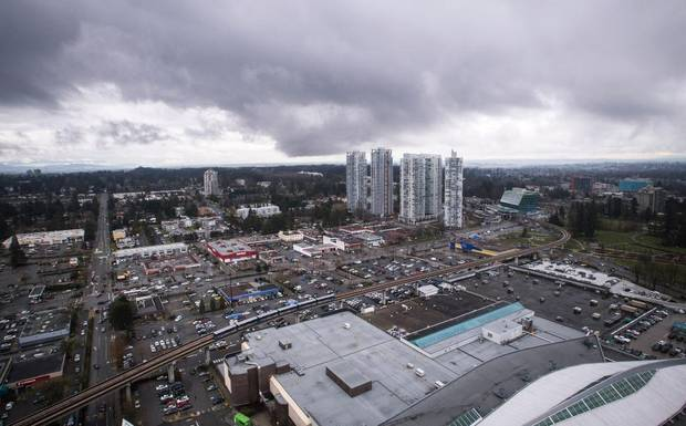 Strip malls and condo towers are pictured off King George boulevard from the Central City office tower in downtown Surrey, B.C., on March 15, 2017.