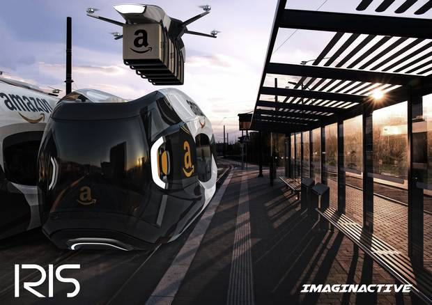 Robotic conveyors would move packages from the cargo hold up to the train roofs for delivery drone pick-up.